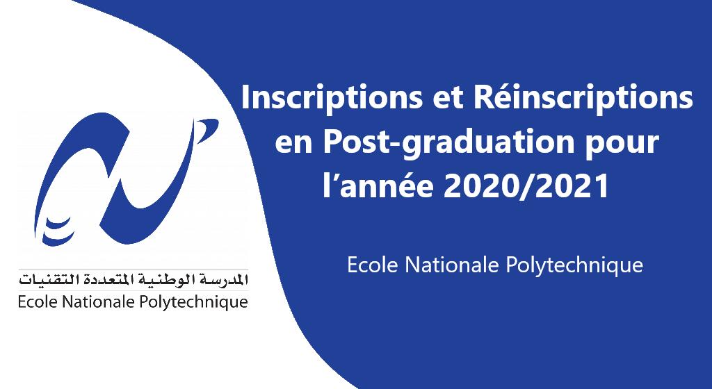 Inscriptions et Réinscriptions en Post-graduation pour l'année 2020-2021
