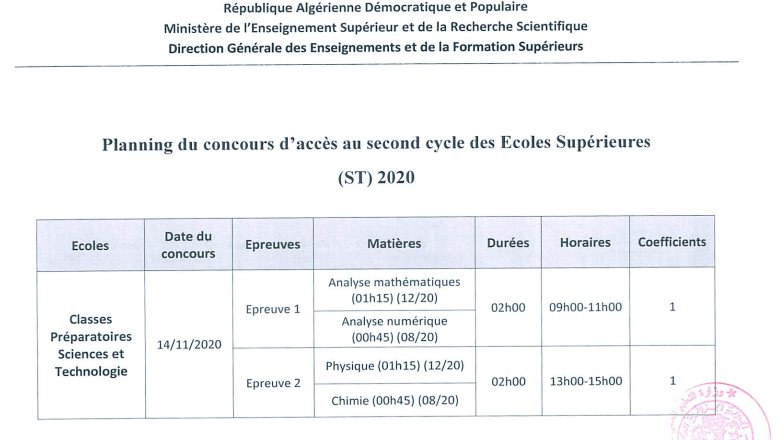 Planning Concours ST